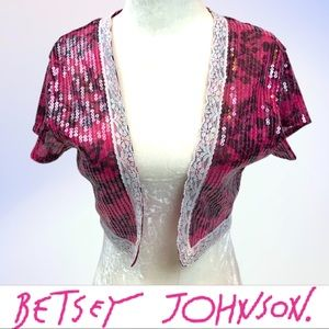 Betsy Johnson Short Sleeve Cropped Sequin Jacket